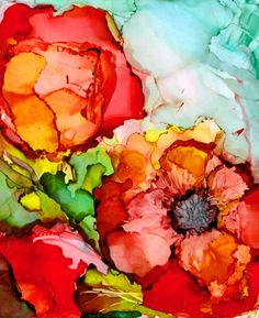 Poppies in Primaries 2 - print of original alcohol ink painting by artist Sarah Hair Olson Check out this art on etsy!