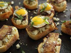 Home Skillet - Cooking Blog: Breakfast Crostini with French Toast Style Broccoli Stalks, Gorgonzola, Maple Syrup, Tarragon and Quail Eggs