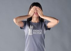 I want this TShirt. The weeping angels were the scariest creatures in Doctor Who... for real.