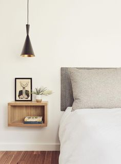 Floating Shelf As Bedside Table In White, Grey And Oak Bedroom - Image From Deco. - Emma Lee home Pendant Lighting Bedroom, Bedside Lighting, Bedside Table Lamps, Wall Lamps, Floating Nightstand, Shelf Nightstand, Bedside Table Ideas Diy, Bedside Pendant Lights, Bedside Table Styling