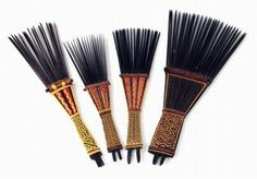 Tonga | Four hair combs; Wood with woven details