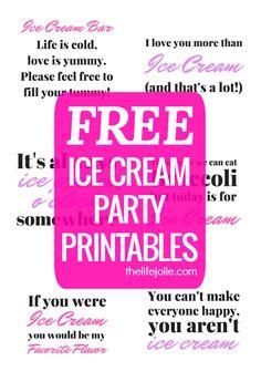 Cute printable signs for DIY ice cream/sundae bar fOR ANY occasion Ice Cream Sign, Ice Cream Theme, Diy Ice Cream, Ice Cream Parlor, Sundae Bar, Vintage Ice Cream, Ice Cream Social, Icecream Bar, Fun Ideas