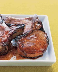 Marinated Pork Chops INGREDIENTS  5 tablespoons soy sauce 2 tablespoons hoisin sauce 2 cloves garlic, crushed 1 tablespoon honey 1 tablespoon sugar 4 center-cut pork chops, well trimmed