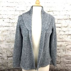 Cambridge-Dry-Goods-Womens-Cardigan-Sweater-Gray-Chenille-Size-Large-Poly-Nylon