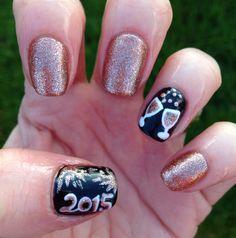 New Years nails, champagne glasses, fireworks & black & gold - Deb P - New Years Nail Holiday Nail Designs, Holiday Nails, Christmas Nails, Nail Art Designs, Nails Design, Holiday Ideas, New Year's Nails, Red Nails, Winter Nails