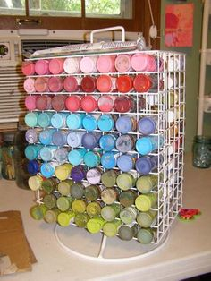 I totally swiped this idea from Collage Contessa and store my Golden Fluid Acrylics in one of these! *from another pinner) Acrylic Paint Storage, Craft Paint Storage, Organisation Hacks, Studio Organization, Organizing Tips, Organizing Solutions, My Art Studio, Studio Ideas, Painters Studio