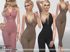 The Sims Resource: Burning Inside Summer Jumpsuit by Pinkzombiecupcake • Sims 4 Downloads