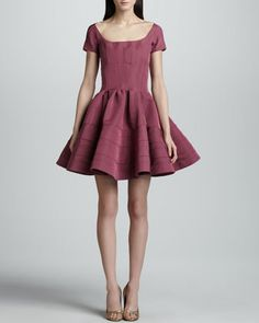 Short-Sleeve Fit-And Flare Dress, Orchid by Zac Posen at Neiman Marcus. $1994