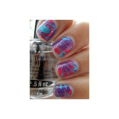 MixedMama Purple, Blue, Hot Pink and Glitter Water Marble ❤ liked on Polyvore