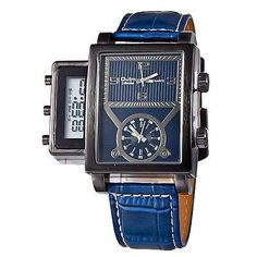 New Men's Blue Multi time Zone Unique Style Digital/Analog Quartz Watch