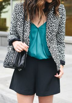 Add a polished touch to your summer ready style by pairing our black and white animal print blazer with a silky teal tank and shorts. The perfect date night look | Banana Republic