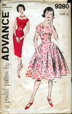 Advance 9280 Advance 9280; ca.1960; Misses' One-Piece Dress (Two Skirts). Dress, slim-skirted or full-skirted, you have your choice! The neckline cuts away, then V's handsomely. The shoulder armhole is dropped, for newest look. Make dress slim - or flare out with full circle skirt.