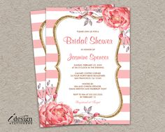 Pink And Gold Bridal Shower Invitations With White Stripes Glitter And Watercolor Peonies | DIY Printable Striped Wedding Shower Invites by iDesignStationery on Etsy