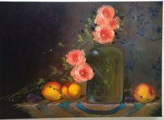 Natureza Morta Vidros e Pêssegos. Óleo sobre tela. 50X70 cm. Elizandra Caiano.