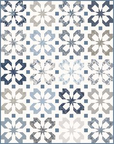 Quilt patterns - Flutter and Hidden Shoofly Patterns – Quilt patterns Plaid Patchwork, Patchwork Quilting, Scrappy Quilts, Two Color Quilts, Blue Quilts, Star Quilts, White Quilts, Patch Quilt, Quilt Blocks