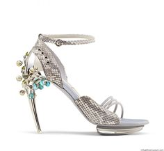 Sandals, Arial Collection 2013.  Mardi Gras Gianluca Tamburini Sculpt-aluminium heel sandal, titanium screws and plexi plateau. The decorations on the heel are removable and made from blown-glass Murrine boules, peridot gems and silver 925. The upper is made by real python and nappa leather.
