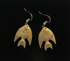 Angel Fish Earrings 24 Karat Gold Plate Longfin Fishes Fishing Freshwater Sea EG559 by NostalgicCharm on Etsy