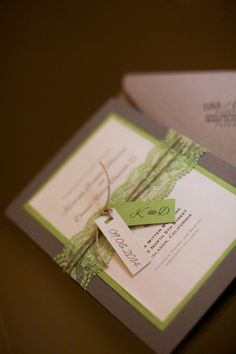 Wedding Details. Lime green and grey wedding invitation