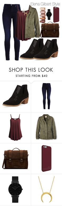 """""""Elena Gilbert"""" by stylist201 ❤ liked on Polyvore featuring Steven by Steve Madden, Velvet by Graham & Spencer, Dr. Martens and CLUSE"""