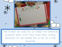 Gift for the kids - dry erase board made from shower board - GREAT IDEA!