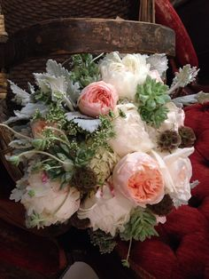 Peonies ~ garden roses ~ pods ~ dusty miller ~succulents  Soft & romantic & so today~ designed by Elysian Fields Floral Studio
