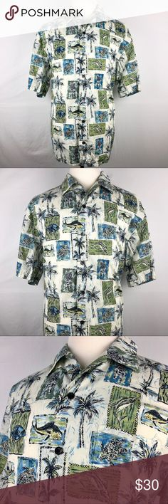 """Koko Island Hawaiian Shirt Mens XL Blue Bahama Brand: Koko Island Classics   Detail: This is a Koko Island Classics Hawaiian Style Men's Shirt. Features 100% Cotton Lawn Fabric, Very Lightweight & Cool, & a Beautiful Island Style Pattern.  Condition: This item is in Great Pre-Owned Condition! No Major Flaws (No Stains, Rips or Tears).   Material: 100% Cotton Lawn Care: Machine Washable  Size: XL Made in USA Measurements: Chest: 26.5"""" Length: 31.5"""" Shoulder: 21.5"""" Sleeve: 11"""" 💥Top Rated…"""