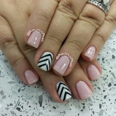 Baby pink chevron nails