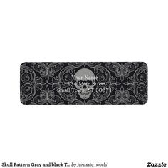 Skull Pattern Gray and black Texture Gothic Floral Label