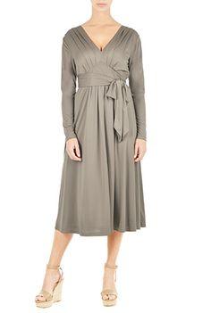 I <3 this Jersey knit sash tie empire dress from eShakti