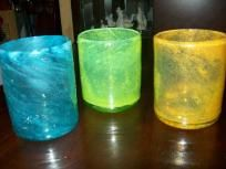 Candle holder Colorful 3 Piece Glass set  NEW free shipping