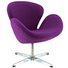 Wing Aluminum Rotating Base Wool Lounge Chair in Purple