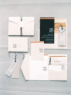 modern black and bronze invitation suite | Photography: Katie Julia