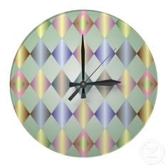 Customizable Diamond clocks from Zazzle. Choose a pre-existing design for your wall clock or create your own today! Diamond Wall, Wall Patterns, Diamond Pattern, Pastel, Clock, Design, Home Decor, Watch, Cake