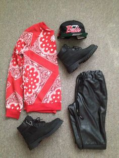 release date: 12ed6 d161f  Forever 21 bandana shirt nd leather joggers ❤ Leather Joggers, Dope  Outfits, Bandanas