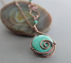 Captured turquoise copper pendant on chain with a decorative clasp - Copper necklace - Turquoise necklace