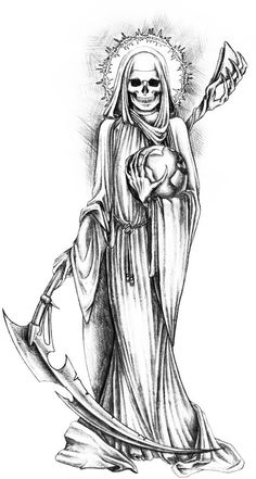 Santa Muerte by Cthulhu-Great on DeviantArt Evil Tattoos, Skull Tattoos, Body Art Tattoos, Grim Reaper Art, Grim Reaper Tattoo, Tattoo Sketches, Tattoo Drawings, La Santa Muerte Tattoo, Tattoo Tod