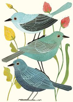 Pretty blue bird art notecards by Geninne Zlatkis via Parkside Paper + Gift