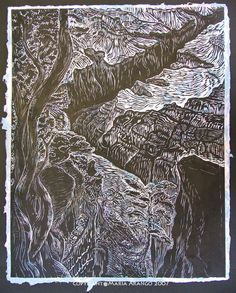 Original woodblock print wall art Grand Canyon South Rim Southwest landscape large woodcut print