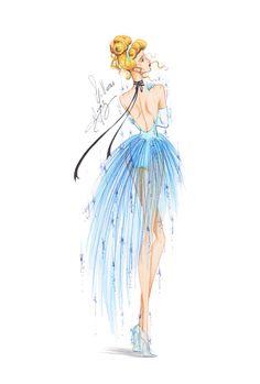 Guillermo García Meraz, art, illustration, fashion, fashion sketches, high fashion, Disney, fan art, film, Cinderella