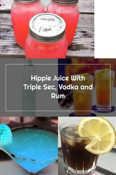 Hippie Juice With Triple Sec, Vodka and Rum Hippie Juice, Triple Sec, Drink Bottles, Rum, Vodka, Vitamins, Water Bottle, Drinks, Drinking