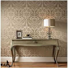 Graham & Brown Desire Wallpaper ($107) ❤ liked on Polyvore featuring home, home decor, wallpaper, taupe, graham brown wallpaper and damask wallpaper