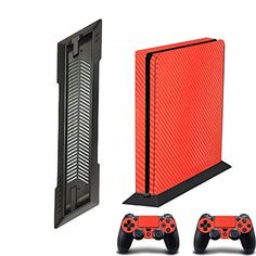 Vertical Stand Mount NonSlip Secure Base  Orange Carbon fullcovered Decal Skin sticker for Sony PlayStation 4 PS4 Slim  2 Control * You can find more details by visiting the image link.Note:It is affiliate link to Amazon. #PlayStationGames