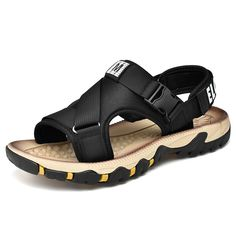 Men Hook Loop Outdoor Slip Resistat Comfy Walking Grip Strap Sandals is comfortable to wear, cheap men sandals are on sale-NewChic. Beach Sandals, Strap Sandals, Gladiator Sandals, Men's Sandals, New Casual Fashion, Mens Fashion, M Class, Zapatillas Casual, Outdoor Backpacks
