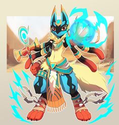 Apparently this is a fan-made version of lucario where he's Egyptian