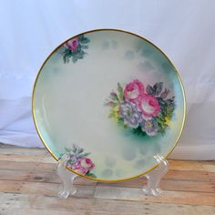 Rudolstadt pink purple and green floral plate by TheCastOffQueen