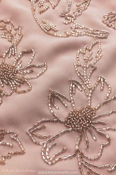 Delicate bead hand embroidery on dusty rose georgette fabric. Minimalist floral embroidery perfect for any occasion Delicate bead hand embroidery on dusty rose georgette fabric. Minimalist floral embroidery perfect for any occasion Zardozi Embroidery, Hand Embroidery Dress, Embroidery Neck Designs, Tambour Embroidery, Bead Embroidery Patterns, Bead Embroidery Jewelry, Embroidery Fabric, Embroidery With Beads, Pearl Embroidery