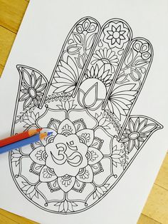 Hamsa Om Hand Drawn Adult Coloring Page Print by MauindiArts