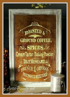 For pantry door: Vintage Sign Made From Free Graphic and Free Cupboard Door.