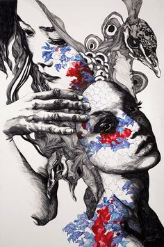 Gabriel Moreno does beautiful work with such basic materials: a pen and a brush. His illustrations begin in black and white, upon which Moreno builds, adding layers of color and images of other places and people tattooed into their skin. Flowers, birds, and faces organically expand from his subjects, as if a rush of creativity, or a dream, is escaping them.