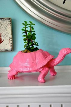 Upcycle old plastic or rubber toys into planters
